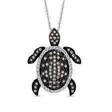 t w champagne and white diamond turtle pendant in 10k white gold