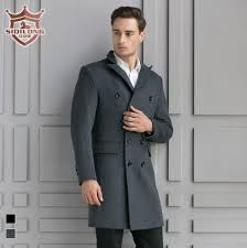 best whole siqilong black grey medium long wool coat men winter jacket overcoat trench coat mens cashmere jacket coat wool blends under 107 68