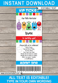 Lil Monster Birthday Invitations Monster Party Ticket Invitation Template Monster Birthday Party Invite