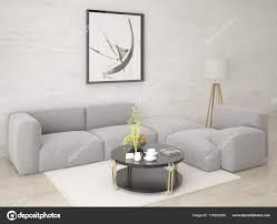 Mock Stylish Living Room Comfortable Corner Sofa Hipster Background