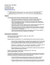 Sample Resume Of Mechanical Engineer Resume Work Template