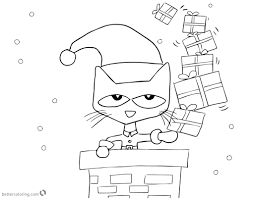 Pete The Cat Coloring Pages Christmas Gifts Free Printable