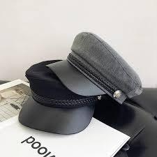 <b>2019 2019</b> Fashion <b>PU Leather Military</b> Hat Autumn Sailor Hat For ...