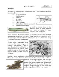 weapons used in world war i facts information worksheet weapons used in world war i