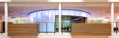 a new large round conference room in iss world was designed by dissing weitling architects the facade is made of curved glass art andersen developed