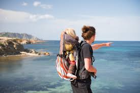 father and baby daughter in backpack carrier looking at scenic view