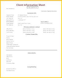 Client Sheet Excel Template Information Sheet Template 3 Fact New
