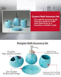 4 Piece Bathroom Accessory Set Amazoncom Designer 4 Piece Ceramic Bath Accessory Set By Comfify
