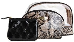 victorias secret vs trio black lace cosmetic bag victoria s secret