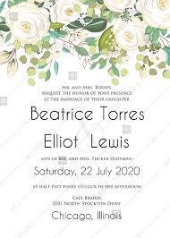 Wedding Invitation Set White Rose Peony Jasmine Herbal Greenery Pdf 5x7 In Edit Template