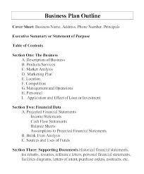 Basic Business Plan Outline Free Business Plan Outline Template Free One Page Word