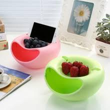 Creative Lazy Fruit Dish Snacks Nut Melon Seeds Bowl Double ...