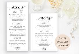 Party Menu Template Party Menu Template Wedding Menu Cards Editable Menu Card Template Printable Menu Birthday Bridal Editable Pdf Instant Download Calligraphy
