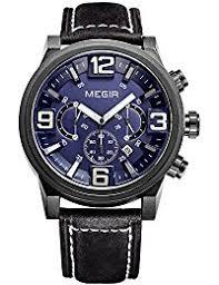 amazon co uk megir watches megir mens 24 hours dial chronograph army style leather quartz wrist watches calendar luminous waterproof wristwatch for man