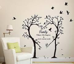 family love heart tree wall art sticker