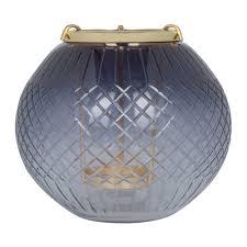 Hanging Glass Tea Light Spheres Black Cut Glass Hanging Tealight Holder Large