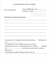 Sample Estimate Forms For Contractors Contractor Quote Forms Template Free Estimate Beautiful 6