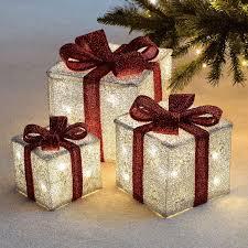 3 Light Up Christmas Boxes Details About Set Of 3 Led Light Up Festive Xmas Christmas Gift Parcel Box Set Decoration
