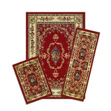 Rug Sets For Living Rooms Capri Savonnerie Red 3 Piece Set Contains 5 Ft X 7 Ft Area Rug