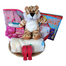 Tiger Baby Gift Basket For Baby Girl With Muslin Blanket Growth Chart Bib Socks