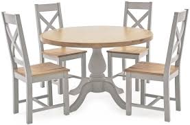 vida living clemence grey painted round fixed top dining set with 4 chairs 120cm