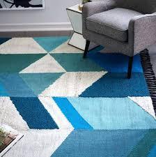 west elm blue rug heirloom wool diamond