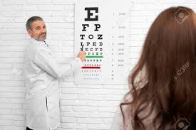 Dr Office Eye Chart Ophtalmologist Pointing At Eye Chart Looking At Client Woman