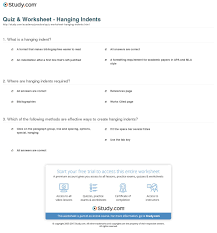 Quiz Worksheet Hanging Indents Studycom