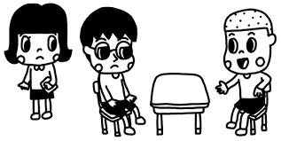 教室で二人でお話をする子どものイラスト 白黒ヤギさん フリー素材イラスト