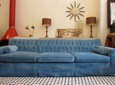 Vintage Mid Century Tufted Blue Velvet Chesterfield Sofa Couch 8ft Long  From Craigslist 8 Ft Couch L97