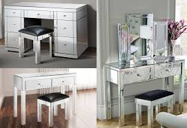 Mirror Furniture Foxhunter Mirrored Furniture Glass Dressing Table With Drawer
