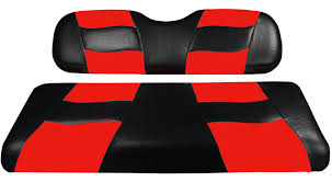 riptide black red two tone front golf cart seat covers club car ez go yamaha