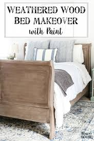 painted weathered wood bed makeover blesserhouse com a thrifted bed gets a painted