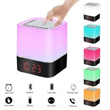 Night Light Bluetooth Speaker Alarm Clock Wanhua Touch Sensor Bedside Lamp Wireless Bluetooth Speaker Vanhua Touch Sensor Bedside Lamp Wireless