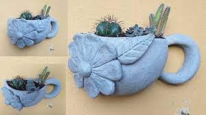 Aguarde entre 12 a 24 horas e desenforme seu vaso. Vaso Xicara Decorado De Parede Decorated Wall Cup Youtube
