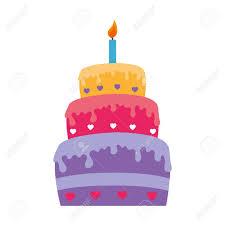 Flat Birthday Cake Designs Happy Birthday Cake Isolated Icon Flat Design