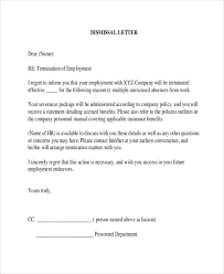 Letter Of Termination Of Employment Template Business
