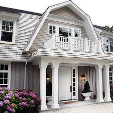 Light Gray Home Exterior With Turquoise Shutters  Cottage  Home Light Gray Siding