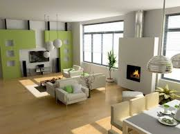 modern living room design with lime green wall