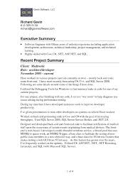 Executive Summary Resume Sampl Good Executive Summary For Resume