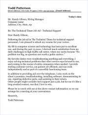 Sample Technical Cover Letters Technical Support Cover Letter Sample
