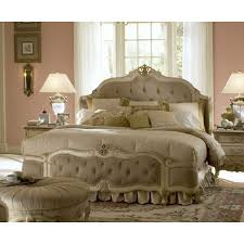 Michael Amini Bedroom Furniture Michael Amini Lavelle Blanc Queen Size Tufted Mansion Bed By Aico