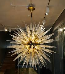 modern pair of murano glass chandeliers for