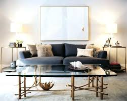 Full Image For Contemporary Living Room Design With Blue Sofa Round Brass  End Tables And Vintage ...