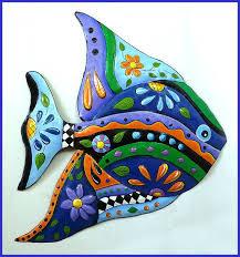tropical fish painted metal art garden
