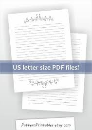 Lined Letter Writing Paper Unique Printable Lined Letter Writing Paper Lily Drawing Ornament Etsy