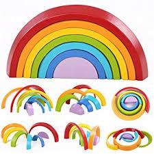 king do Way Wooden Rainbow Stacker Toys 7Pcs ... - Amazon.com