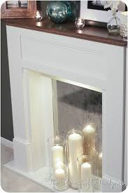 diy faux fireplace closeup of the firebox with a white wood hearth this would