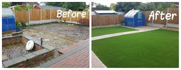 artificial lawn before after