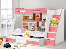 image of childrens bunk beds with stairs and desk